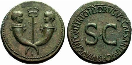Sestertius in the name of Drusus, son of Emperor Tiberius