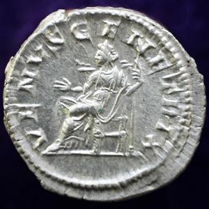 Denarius of Julia Domna, Venus enthroned reverse.