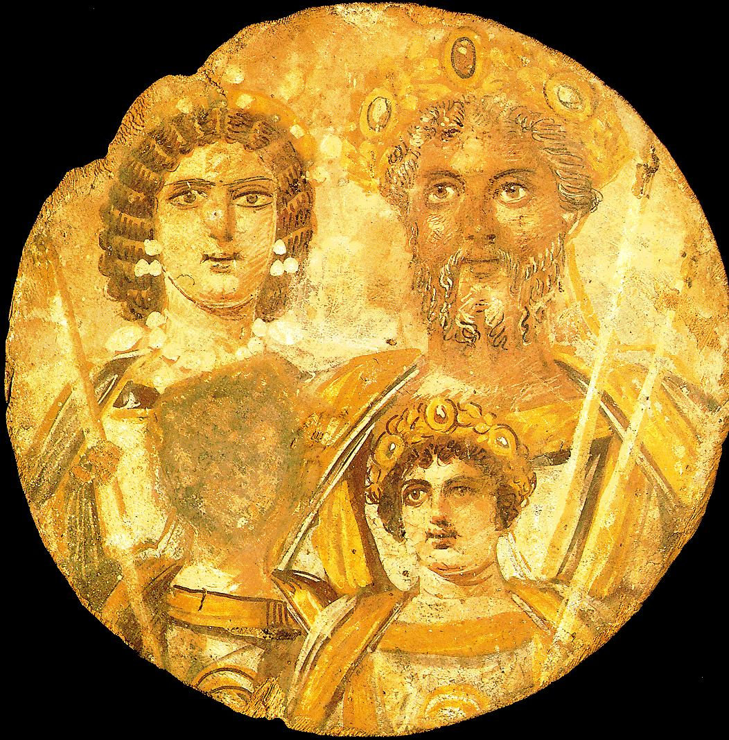 Wood panel portrait of Septimius Severus and his family