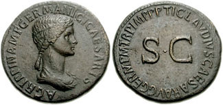 As of Caligula showing his mother Agrippina Senior
