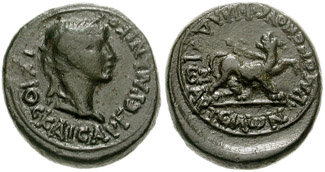 Bronze coin of Caligula from Philadelphia showing a panther on the reverse