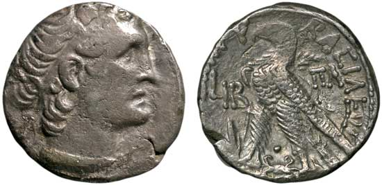 Silver tetradrachm of Cleopatra VII Thea Philopator, Ptolemaic Kingdom of Egypt