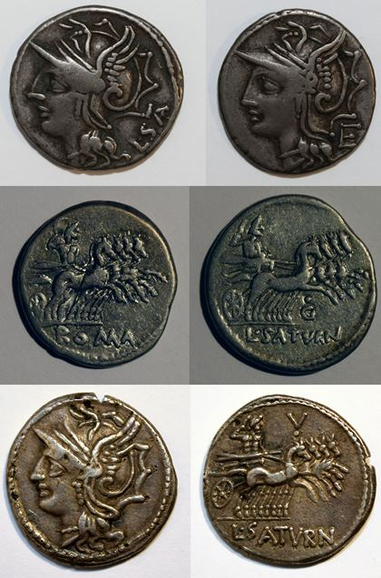 The 3 types of denarius issued by Saturninus