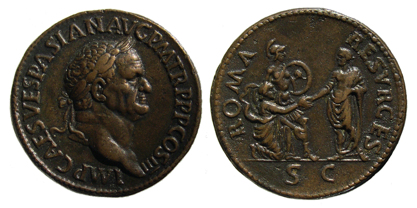 Pauan Counterfeit Sestertius of Vespasian