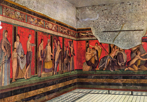 Villa of the Mysteries, Pompeii, showing detail of the great frieze of the Dionysian mysteries