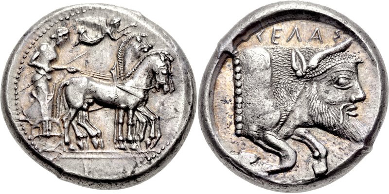 Gela tetradrachm with river god reverse