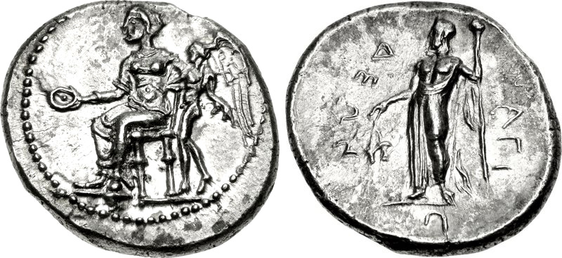 Nagidos stater with seated Aphrodite and Dionysus on the reverse