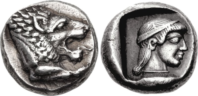 Knidos drachm with lion's head and head of Aphrodite on the reverse