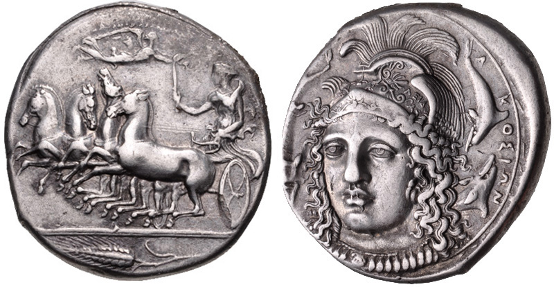 Syracuse tetradrachm signed by Eukleidas depicting Athena