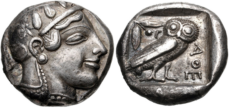 Athens tetradrachm depicting Athena