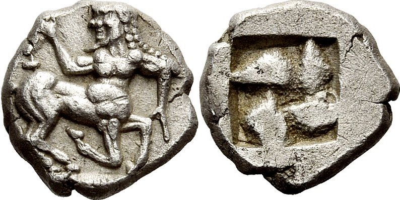 Thraco-Macedonian obol showing running centaur