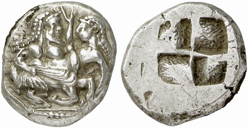 Thraco-Macedonian stater showing running centaur abducting nymph