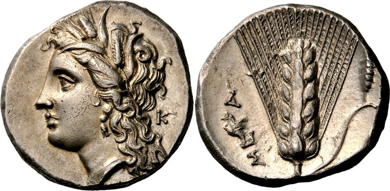 Metapontion nomos depicting Demeter and barley