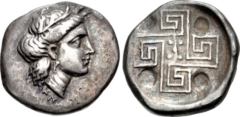 Knossos stater depicting Demeter and labyrinth