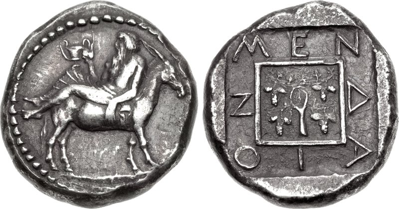 Mende tetradrachm with inebriated Dionysos reclining on back of an ass