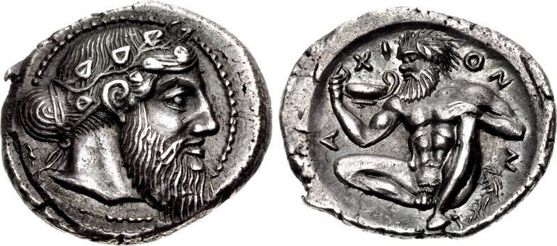 Naxos drachm with bearded head of Dionysos