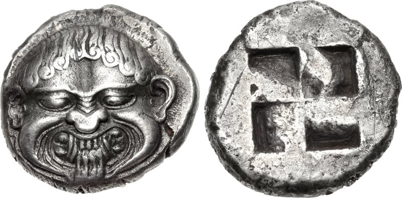 Neapolis stater depicting facing gorgoneion