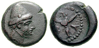 Mytistratus bronze oncia with head of Hephaestus