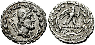 Denarius of Lucius Aurelius Cotta with head of Vulcan (Hephaestus)