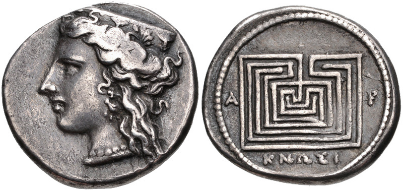 Knossos drachm depicting Hera and the Labyrinth