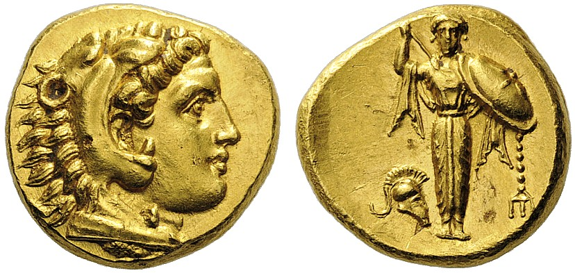 Pergamon gold stater with head of Herakles