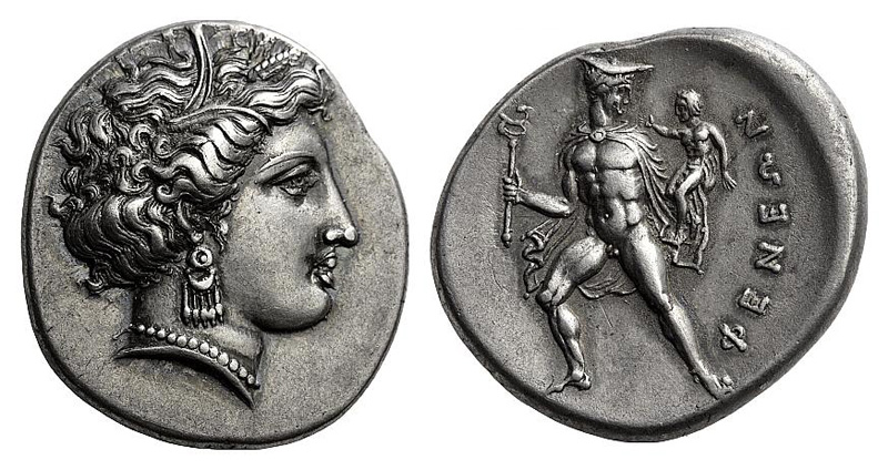 Corinth drachm with head of Aphrodite on the reverse