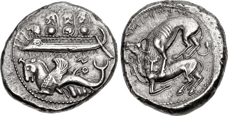 Byblos shekel portraying hoplite laden galley over hippocamp