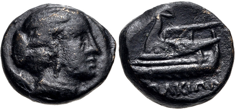 Iolkos bronze with head of Artemis, the galley Argo on the reverse
