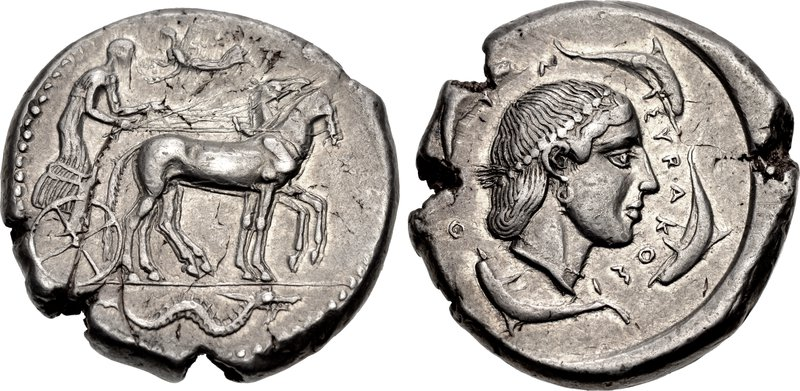 Syracuse tetradrachm with sea monter (ketos) in exergue