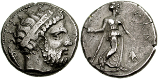 Mallos silver stater depicting Kronos