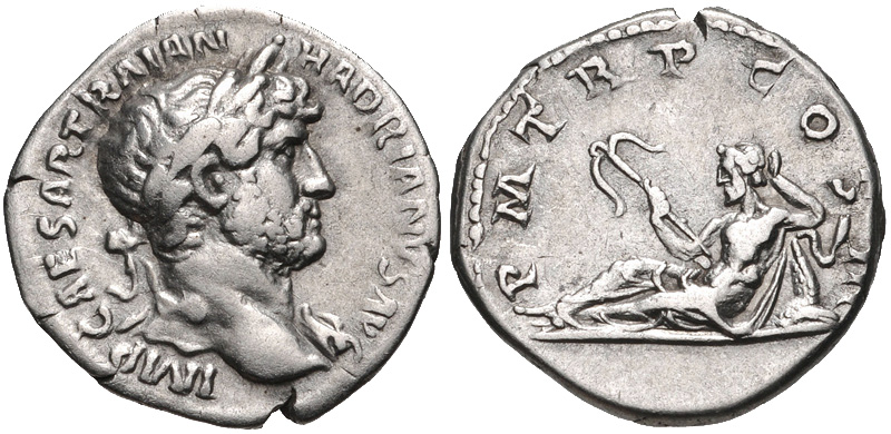 Denarius of Hadrian with Oceanus on the reverse