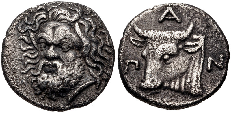 Pantikapaion drachm with head of Pan