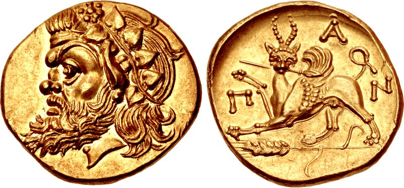 Pantikapaion gold stater with head of Pan