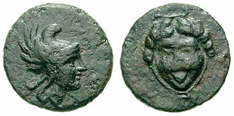 Seriphos bronze with head of Perseus, gorgon on reverse