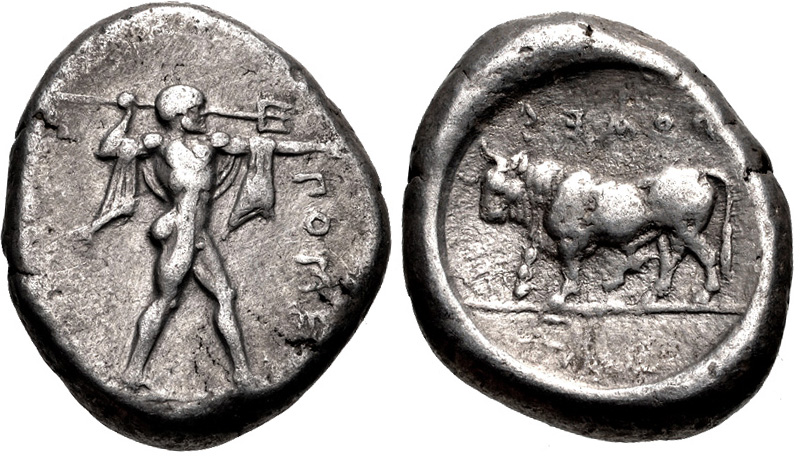Poseidonia stater depicting Poseidon, bull on the reverse