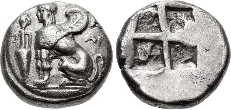 Chios drachm depicting the Sphinx sitting left