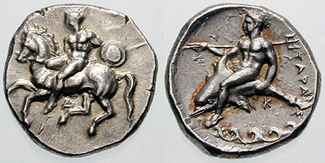 Tarentum nomos with naked horseman dismounting and Taras riding dolphin on reverse