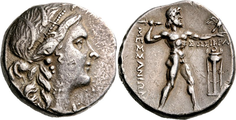 Messene tetradrachm depicting Zeus hurling thinderbolt