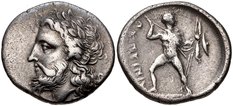 Hemidrachm from Ainianes depicting Zeus