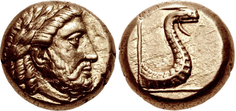Lesbos electrum hekte depicting Zeus