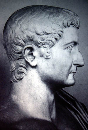 Bust of Emperor Tiberius in profile