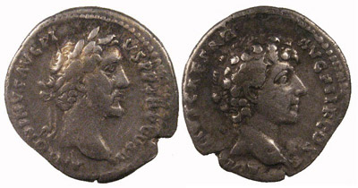 Denarius of Antoninus Pius with reverse of Marcus Aurelius as Caesar