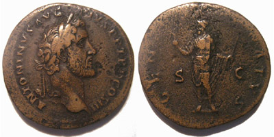 Emperor Antoninus Pius on a roman sestertius with a genius of the senate reverse