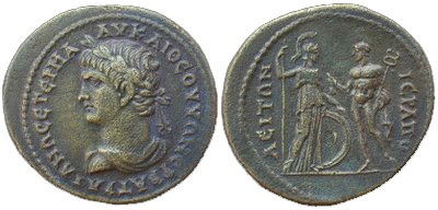 Emperor Trajan on a bronze coin from Phrygia