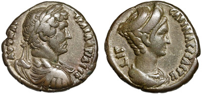 Portraits of Emperor Hadrian and Empress Sabina on a tetradrachm from Alexandria