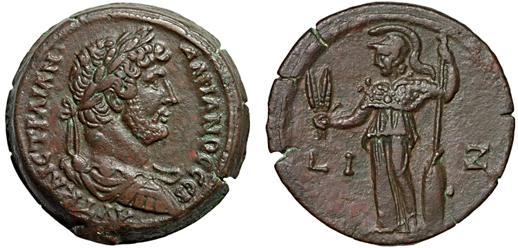 Emperor Hadrian on a bronze drachm from Alexandria with Athena on the reverse