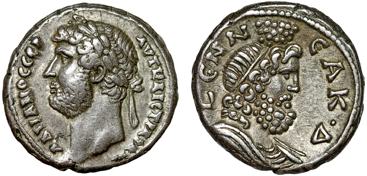 Emperor Hadrian on a silver tetradrachm from Alexandria with Serapis on the reverse