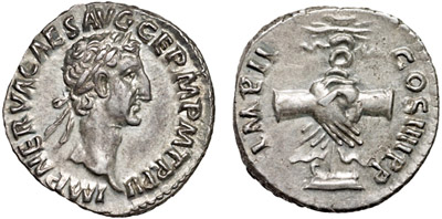 Emperor Nerva on silver denarius with clasped hands reverse