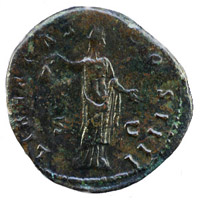 Emperor Antoninus Pius portrait on a roman sestertius with Libertas on the reverse