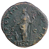 Reverse of a roman sestertius of Emperor Marcus showing Pietas standing right